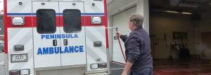 Peninsula Ambulance Corps ambulance gets a wash